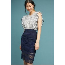 Anthropologie Women Fringed Crochet Pencil Skirt BLUE Milkderived fiber Fringed detail 4120464030021 LJDIGWD