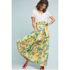 Anthropologie Women Leticia Maxi Skirt YELLOW MOTIF Cotton Fronttie detail 4120571610001 CPZHGRH