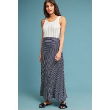 Anthropologie Women Lonnie Striped Skirt BLUE MOTIF Rayon spandex Pullon styling 46554663 OWXLNSL
