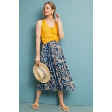 Anthropologie Women Nekoma Pleated Skirt BLUE MOTIF Viscose Pleated detail 4120318355454 JTRGWLI