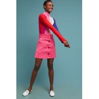 Anthropologie Women PAPER London Wallace Corduroy Mini Skirt PINK Cotton spandex Removable belt 4139635950006 FTIEAXG