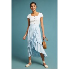 Anthropologie Women Ruffled Gingham Wrap Skirt SKY Rayon; rayon lining Ruffled detail 4120612070004 MNZFJWS