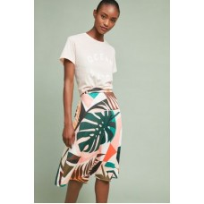 Anthropologie Women Tropical A-Line Skirt GREEN MOTIF Polyester rayon cotton Aline silhouette 4120464030011 GIZXLYZ