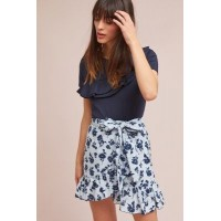f8a745e6fc9 Anthropologie Women Tuileries Wrap Skirt BLUE MOTIF Cotton  viscose lining  Ruffled hem 4120448390010 DADSIIA