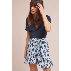 Anthropologie Women Tuileries Wrap Skirt BLUE MOTIF Cotton; viscose lining Ruffled hem 4120448390010 DADSIIA