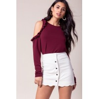 Women Ditsy Scallop Mini Skirt White 101109638 PLPCRUM
