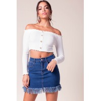 Women Frankie Fringe Mini Skirt Med Wash Denim 103953824 AWKGBGZ