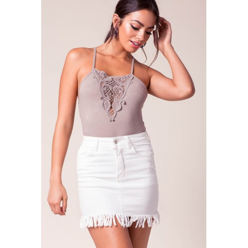 Women Frankie Fringe Mini Skirt White 103953824 EQWUPDO