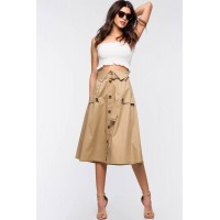 Women Midi Flare Trench Tie Front Skirt Taupe/Khaki 103203791 DEOAXBL