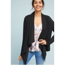 Anthropologie Women Eleanor Draped Cardigan BLACK Rayon polyester cotton spandex Open front 4115639740001 TSKVTYS