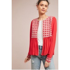 Anthropologie Women Embroidered Peplum Jacket RED Cotton Embroidered bib and cuffs 4115443230055 ZSCGCWU