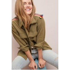 Anthropologie Women Embroidered Utility Jacket MOSS Linen cotton Fringed edges 4115448390003 QMWQNPL