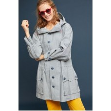 Anthropologie Women Oversized Hooded Anorak LIGHT GREY Cotton Drawstring waist 4139016830002 PLIWHVH
