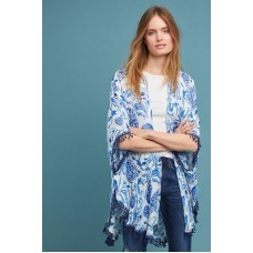 Anthropologie Women Pretty in Paisley Kimono BLUE MOTIF Viscose Fringed hem 47559778 WFEDWXR