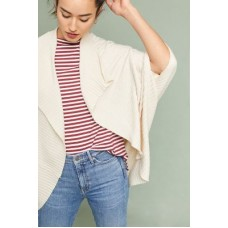 Anthropologie Women Ribbed Cocoon Kimono CREAM Viscose polyester polyamide Open front 45780467 CLQYLOS