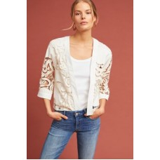Anthropologie Women Romantic Lace Kimono Jacket IVORY Cotton Open front 4115095140359 ZYHTAHJ