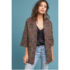 Anthropologie Women Tapestry Kimono Jacket A/S Polyacrylic polyester viscose metallic thread; acetate lining 3/4 sleeves 4133345038527 KIJWEVQ