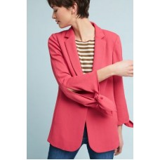 Anthropologie Women Tied-Sleeve Blazer PINK Polyester; polyester lining Side pockets 4115506933141 ILFCOUY