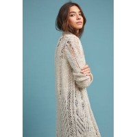 Anthropologie Women Abbott Crocheted Cardigan NEUTRAL Acrylic Slim longline silhouette 4114465690001 FGZNTIC
