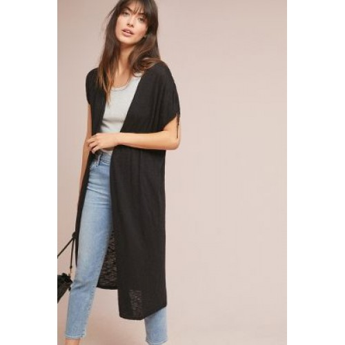 Anthropologie Women Greer Longline Cardigan BLACK Cotton rayon Drawstring sleeves 4113403020003 LDSLRMI