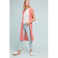 Anthropologie Women Greer Longline Cardigan PINK Cotton rayon Drawstring sleeves 4113403020003 KAIAAED