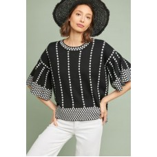 Anthropologie Women Mod Intarsia Pullover BLACK & WHITE 65% acrylic 45% cotton Bell sleeves 4113257230002 XAGRYZH