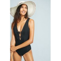 Anthropologie Women Tavik Roan Slinky Ribbed One-Piece Swimsuit BLACK Polyester spandex; polyester spandex lining Laceup vneck 44716975 LMRXAGB