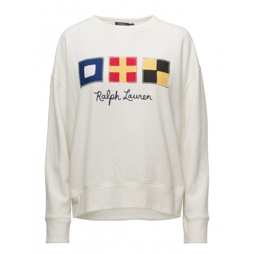 Polo Ralph Lauren Women Flag Patch Fleece Sweatshirt Crew neckline 17058427  CADHLHV a3a123949d