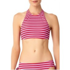 Anne Cole Signature Women Stripe High Neck Bikini Swim Top Pink Combo UZSZNPE