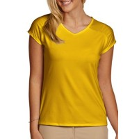 Antigua Women Short Sleeve Limited Tee Yellow Pullover V-neck RAPFCLH