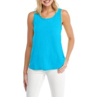 Crown & Ivy Women Solid Slub Tank Turq Pullover Scoop neck USRTRBD