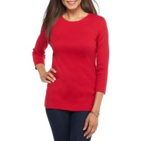 Kim Rogers Women Ribbed Solid Knit Top Red Mercury Pullover Crew neck IXSUEAI