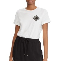 Lauren Ralph Lauren Women Bullion-Embroidered Jersey T-Shirt White Model is 5-ft 10-in/178 cm and has a 32-in bust; She wears a size small Crew neck; Short sleeves with turn-back cuffs MXXZUZR