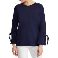 Lauren Ralph Lauren Women Jersey Bell-Sleeve Top Navy Model is 5-ft 10-in/178-cm and has a 32-in bust she wears a size small Rounded neckline HMADOCN