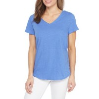 New Directions Weekend Women EDV Solid Double V Neck Tee Peri Muse Pullover V-neck XKWNXYM