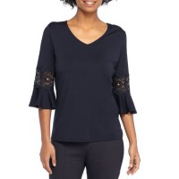 THE LIMITED Women Ponte Lace Inset Bell Sleeve Blouse Navy Pullover V-neck HGKDJSO