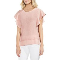 Vince Camuto Women Ruffle Sleeve Mixed Media Top Pink Fawn Pullover Round neck ARMTIAE