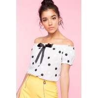 Women Bow Front Embroidered Polka Dot Top White Pattern 103404104 CWYTVGM