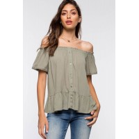 Women Button Off Shoulder Top Olive 103462531 FQFPGMM