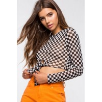 Women Checkered Tie Front Tee Black/White Pattern 103604384 XHVYVKD
