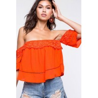 Women Crochet Off Shoulder Top Red 103908564 JUNYGRO