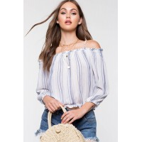 Women Emily Stripe Off Shoulder Top Blue Pattern 103807229 TUWSODI