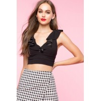 Women Ivy Ruffle Crop Top Black 103407250 KVALROS