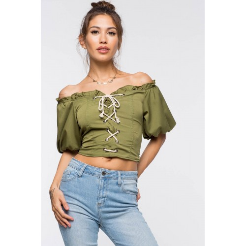 Women Lace Up Crop Top Olive 103253908 UWZUSCT