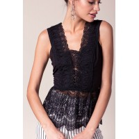 Women Lane Lace Babydoll Top Black 103154854 YDVZBOB