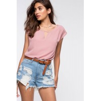 Women Lattice Back and Keyhole Front Tee Mauve 103457089 TPLGPOJ