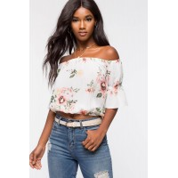 Women Rosie Floral Off Shoulder Top White Print 103661848 MCDZZEH