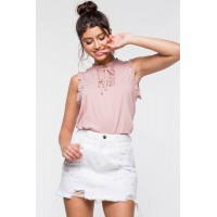 Women Ruffle And Lace Dressy Tee Mauve 103917111 SJDVSNA