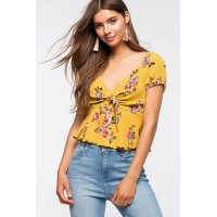 Women Sunny Floral Tie Front Blouse Yellow Print 103655915 JHPUDXR