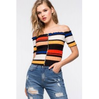 Women Zipper Front Stripe Off Shoulder Black Pattern 103656230 RZGDMWY